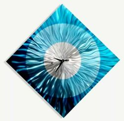 Metal Wall Clock Art ULTRA COOL Aqua Silver Modern  SIGNED ORIGINAL Jon Allen