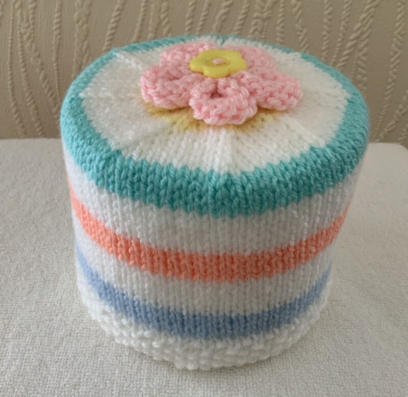 Hand+Knitted+Pastel+Colours+%26+White+Stripe+Toilet+Roll+Holder+with+Flower+Topper