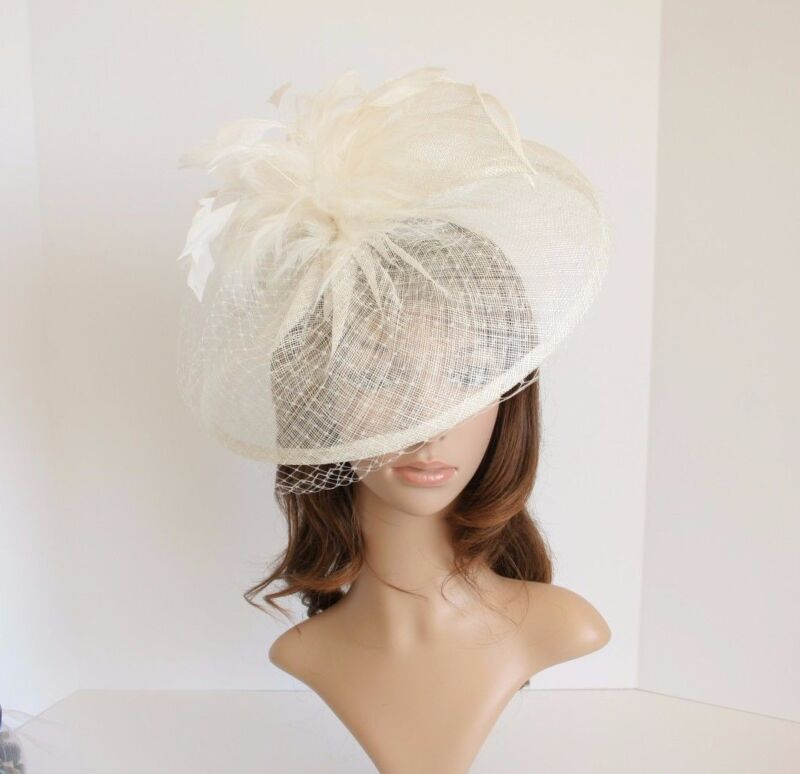 Jumbo Church Derby Wedding Feather floral Sinamay Fascinator Ivory 511