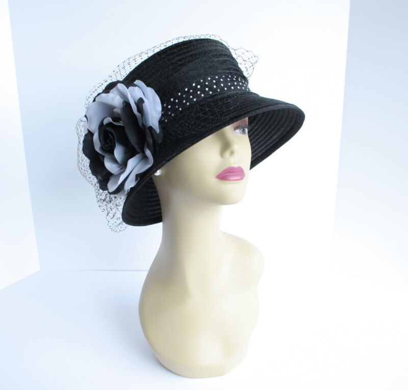 NEW Church Derby Wedding Polyester w White/Black Flower & Net Hat Black VF287
