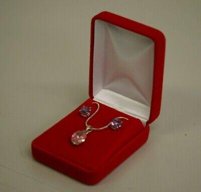 Red Velvet Earring Pendant Necklace Chain Jewelry Gift Box Case with White Box Velvet Pendant Earring Box