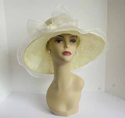NEW Church Derby Wedding Lace & Organza Soft hat Ivory/Light Yellow - Yellow Derby Hat