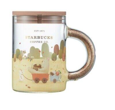 Starbucks Korea 2021 Autumn handle glitter glass & lid 355ml