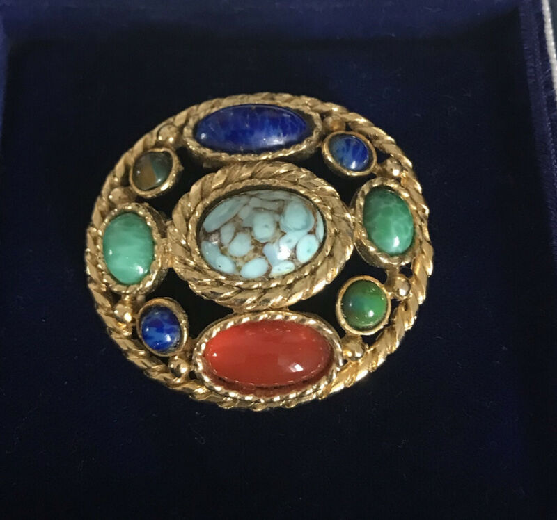 Vintage Jewellery- Celtic Scottish Style Brooch With Glass Stones