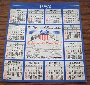 Vintage Union Pacific Railroad Calendar 1952