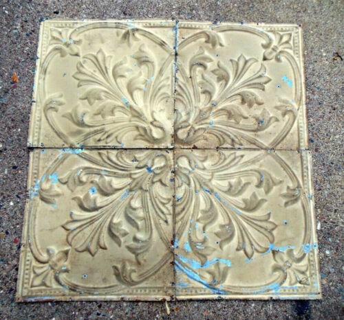 """SALE 36"""" Antique Victorian Gothic Ceiling Tile Medallion Acanthus Arch Fleur De"""