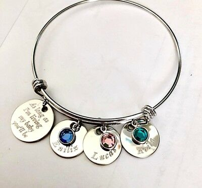 Personalized Name/ birthstone Grandma/mom/nana gift Stainless Steel bangle