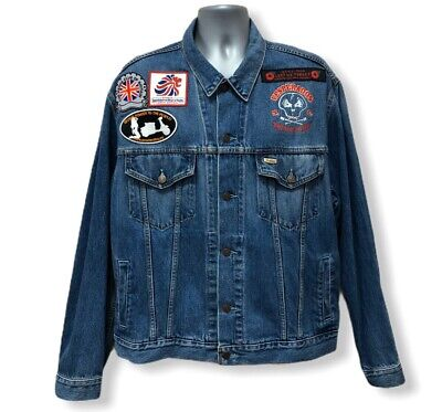 LEVIS DENIM JACKET with VESPA INSPIRED BADGES & PATCHES - SIZE XLarge - FAST P&P