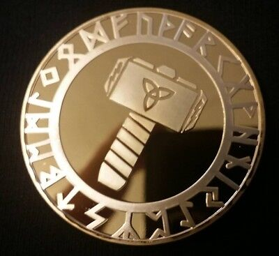 Viking Hammer of Thor & Compass Gold Coin Medallion Token Valhalla Norse