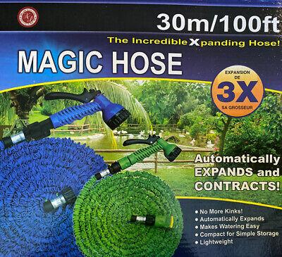 Water Magic Hose Pipe Expanding  Flexible Garden Car Spray Gun 30m 100ft SALE