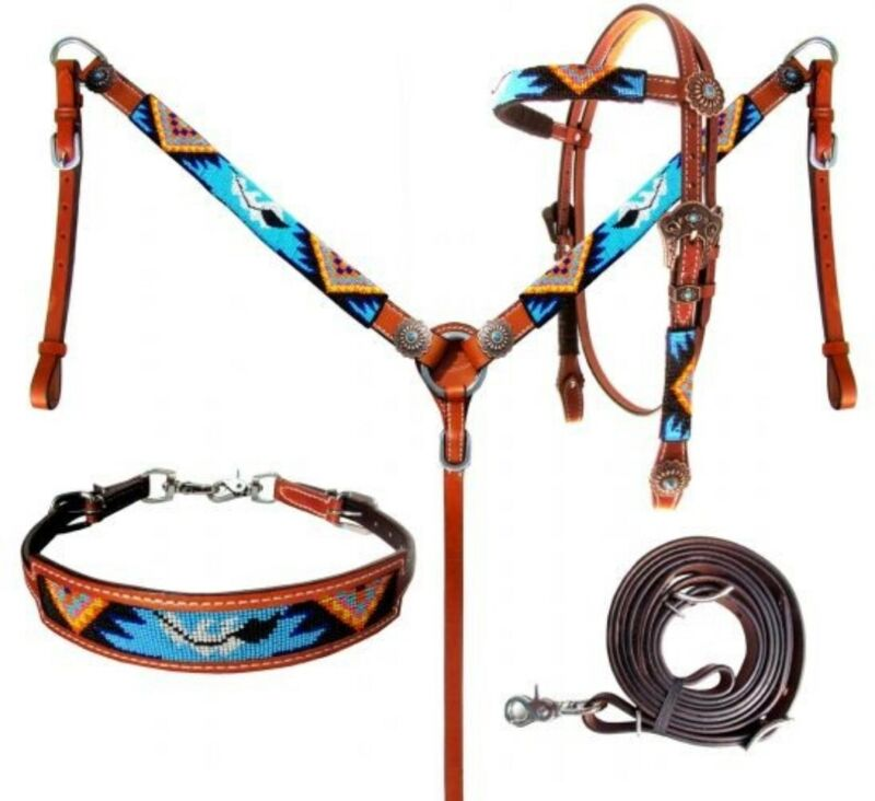Showman 4 Piece Beaded Turquoise Aztec Headstall and Breast Collar Set! TACK SET