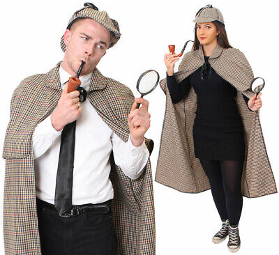 Sherlock Holmes Cape (SHERLOCK HOLMES DETECTIVE COSTUME CAPE HAT ADULTS BOOK DAY CHARACTER FANCY)
