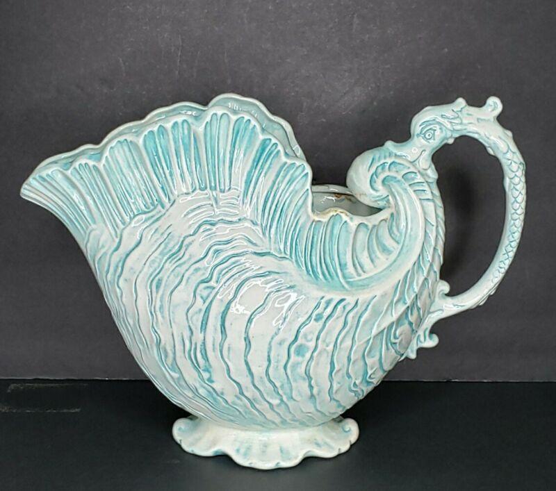 Vtg Art Nouveau Nautical Pitcher Vase Ceramic Crest Mold Turquoise & White 9 3/4