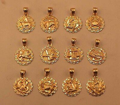 Gold Zodiac Necklace 10 K Gold  Horoscope Pendent
