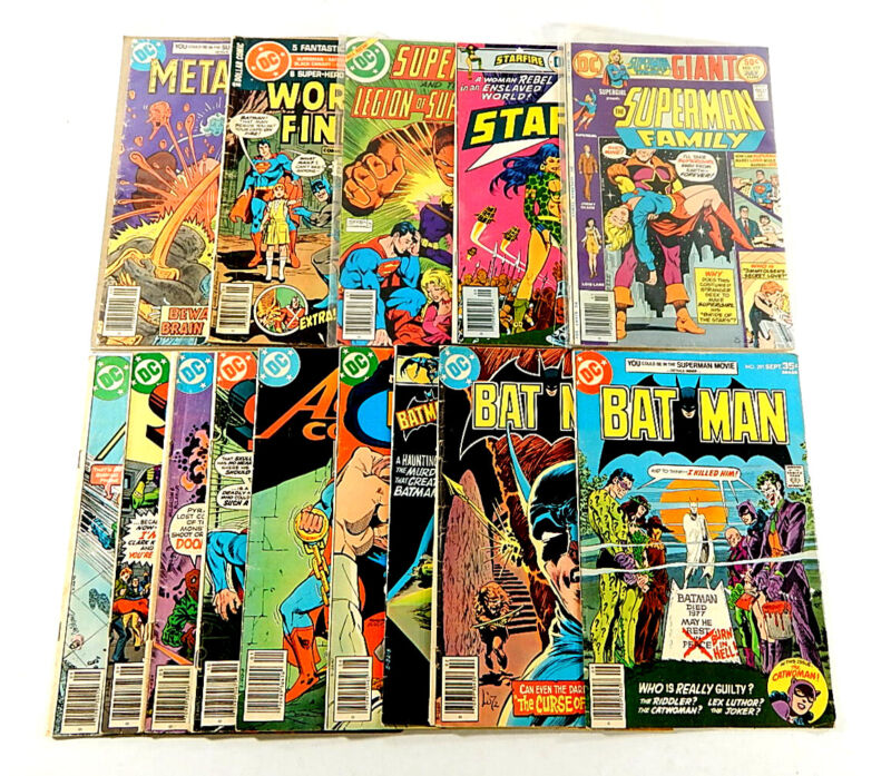 Lot of (15) DC 30 35 40 50 Cent Comics Detective Batman Starfire Superman