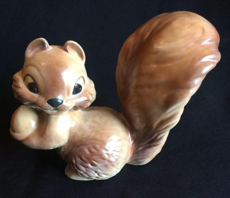 Vintage Ceramic SQUIRREL With ACORN Staute Figurine Handpainted 1983 Signed