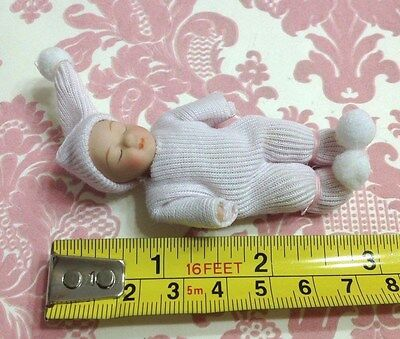 Dollhouse Miniature Pink Cloth Poseable Ceramic Adorable Baby Doll 1:12