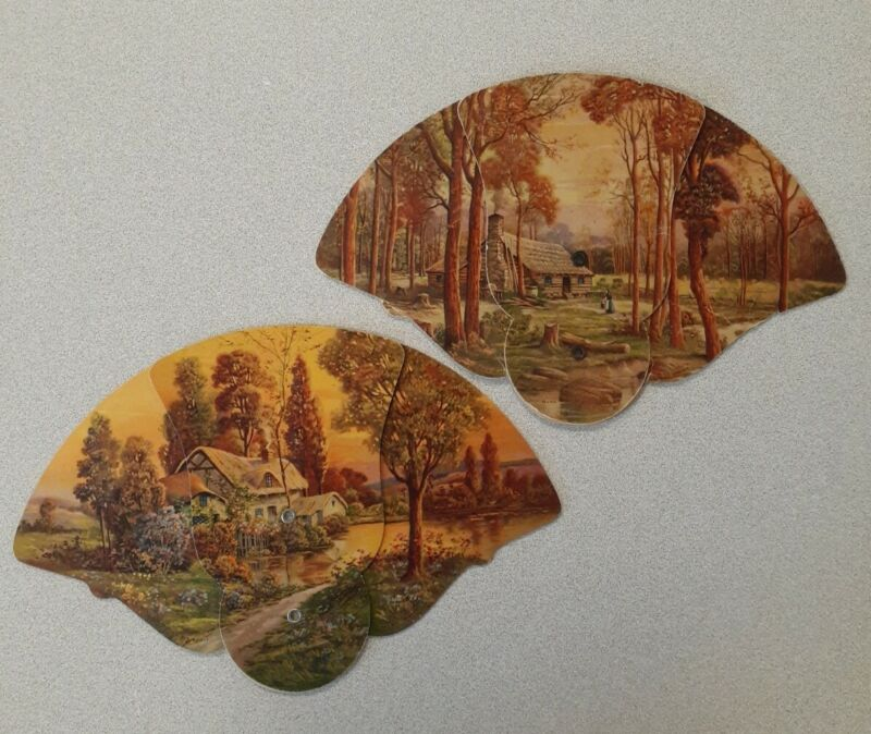2pc Vintage Victorian Advertising Cardboard Trifold Fans Scenic Cottage & Cabin