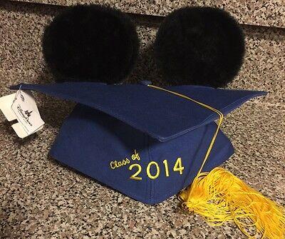 Disney Parks 2014 Graduation Cap Mortarboard Mickey Ears Blue Hat Grad Tassel - Disney Graduation Ears
