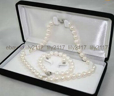 Beautiful 7-8MM Natural White Akoya Cultured Pearl Necklace Bracelet Earring Set ()