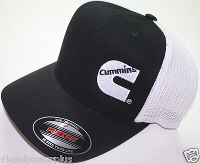 Dodge Cummins truckers mesh summer cummings hat black white cap fitted flex fit