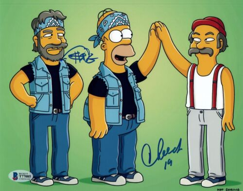 Cheech Marin Tommy Chong Signed Autograph 8x10 Photo The Simpsons Beckett COA