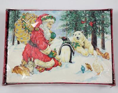 Gibson Boxed Set 20 Christmas Cards Santa Forest Animals Penguin Polar Bear NEW