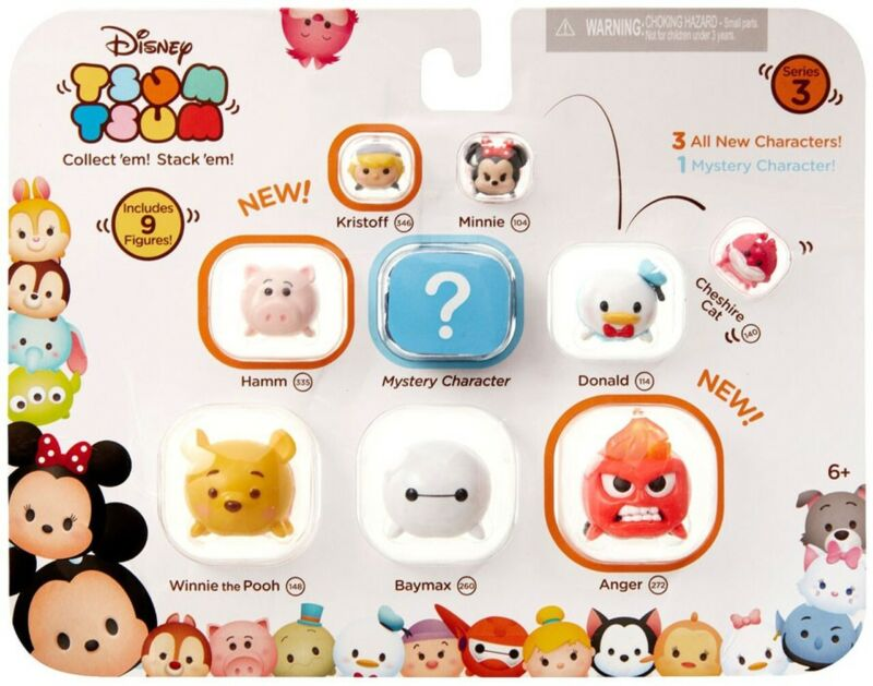 Disney Tsum Tsum Series3, 9 Figures Minnie Donald Winnie the Pooh Mystery &MORE!