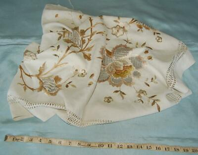 Antique Hand Embroidered Linen Remnant Drawn Thread Arts & Crafts c1900