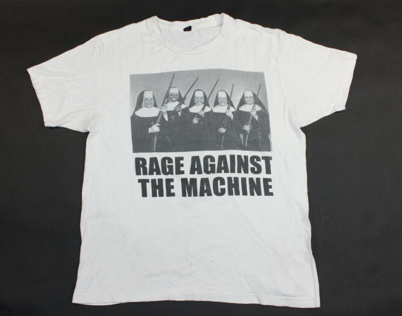 White Rage Against the Machine Nuns with Guns Rock Band Shirt Reproduction Large