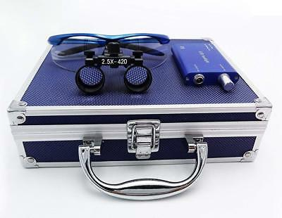 Dental Binocular Loupes 2.5x Magnifier Blue Led Headlight Aluminum Box