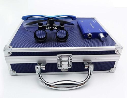 Dental Binocular Loupes 2.5X Magnifier Blue + LED Headlight + Aluminum Box