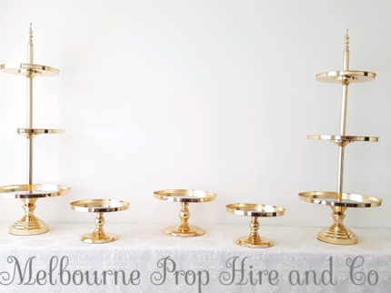 party decoration gold cake stand hire wedding events engagement