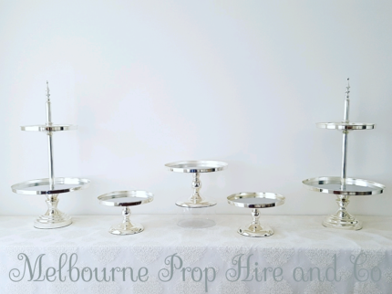 silver cake stand hire wedding party engagement birthday Event