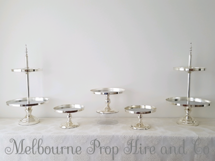 Silver cake stand setup hire prop wedding engagement birthday