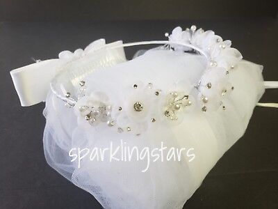 First Communion White Veil Flower Beads Tulle  Headpiece ](First Communion Headpieces)