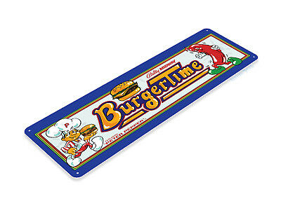 Burger Time Arcade Sign, Classic Arcade Game Marquee, Game Room Tin Sign A266
