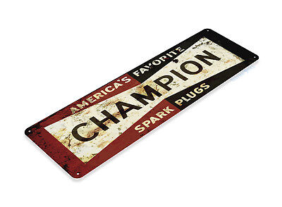 "TIN SIGN ""Champion Retro"" Metal Decor Art Gas Oil Garage Shop Bar A282 #"