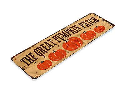 TIN SIGN Pumpkin Patch Fall Produce Décor Halloween Thanksgiving Farm B046