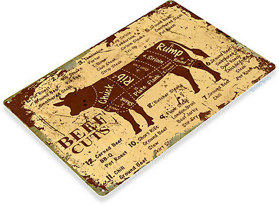 "TIN SIGN ""Beef Cuts"" Metal Decor Wall Shop Farm Cow Kitchen Store A979"