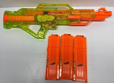 Rare Limited Edition Nerf Stampede Sonic Green Series Blaster With 18 Magazines