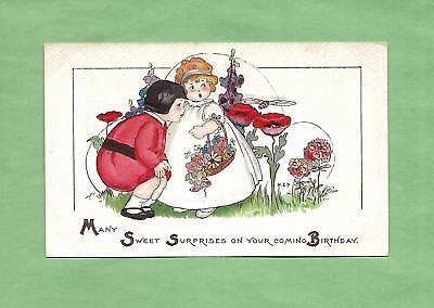 CHILDREN PICK FLOWERS On A/S MARGARET EVANS PRICE MEP Vintage BIRTHDAY Postcard