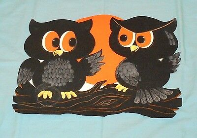 Halloween Cutouts (vintage Halloween OWLS ON TREE BRANCH decoration cutout)