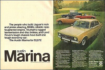 1973 vintage Automobile AD AUSTIN MARINA from British Leyland 061017