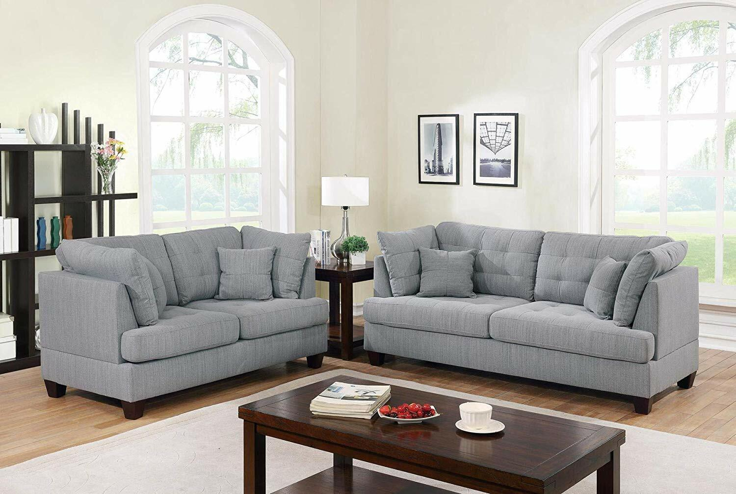 Picture of: Contemporary Upholstered 84 2 Inch Linen Sofa With Pillows 3 Seat Dark Grey For Sale Online Ebay
