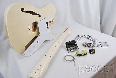 DIY 12 STRING SEMI-HOLLOW CHAMBERED TELE ELECTRIC GUITAR PROJECT BUILDER KIT