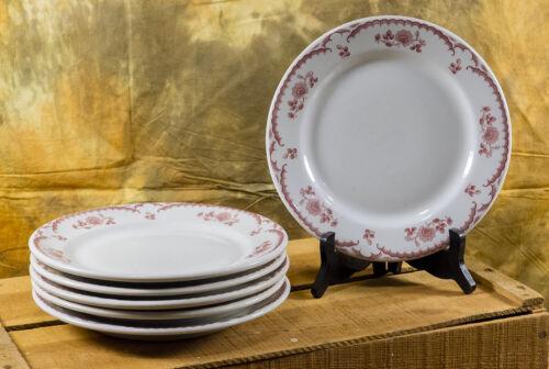 Set of 6 Vintage Shenango RimRol China Chardon Rose Red Dinner Plates