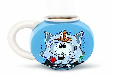 Something Fishy Fishbowl Mug with Cat and Goldfish Artwork