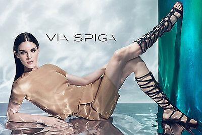 $350 Via Spiga Black Leather Sumner Knee High Flat Open Toe Gladiator Sandal 7