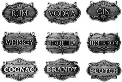 Gorgeous European Liquor Decanter Tags Labels Set 9 Dark Pewter w/ Chain